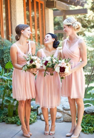 Hot Sale Simple Prom Dress Vintage Short V Neck Bridesmaid Dresses