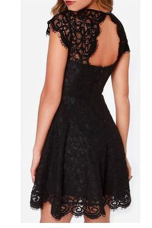 Black Lace Homecoming Dress Sweet 16 Dress Cute Backless Party Dresses for Teens JS90