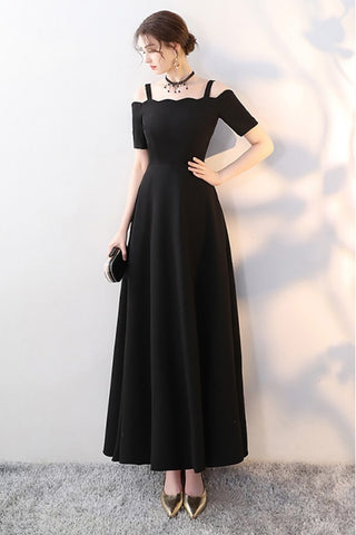 Simple Straps A Line Black Prom Dresses Long Formal Dress