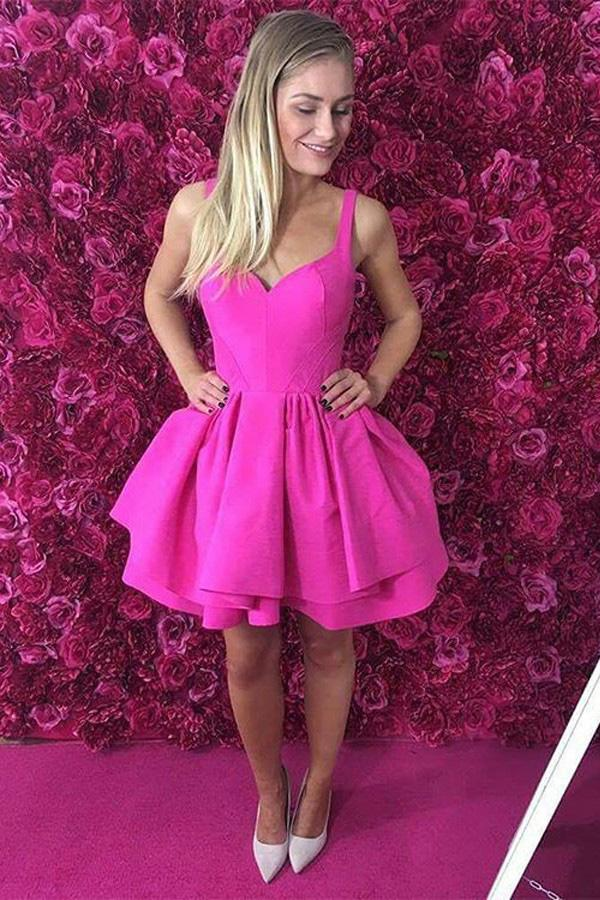 Ball Gown Scoop Eyelet Lace up Fuchsia Short Prom Dress Satin Cute Mini Homecoming Dress JS700