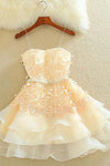 Cute A Line Sweetheart Spaghetti Straps Blush Pink Homecoming Dresses with Appliques JS933