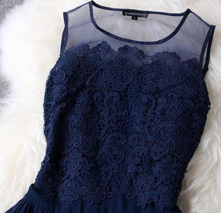A-line Princess Mini Blue Scoop Sweet Sleeveless Crew Homecoming Dresses with Lace JS962