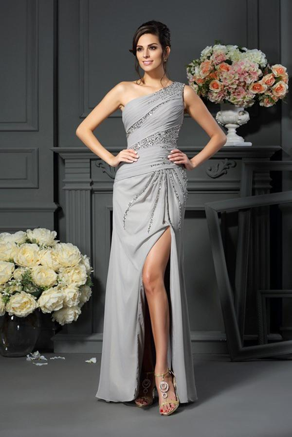 Elegant A-Line Grey One Shoulder Sleeveless Beads Slit Chiffon Mother of the Bride Dresses JS224