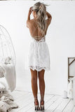 A-Line Spaghetti Straps Lace up V Neck Sleeveless Short White Lace Homecoming Dress JS766