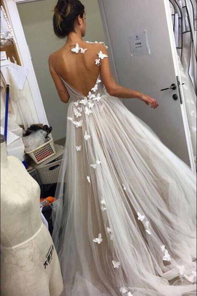 A Line Tulle Open Back Butterfly Sleeveless Long Prom Wedding Dresses