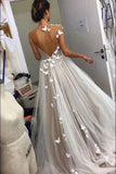 A Line Gray Tulle Open Back Butterfly Sleeveless Long Party Dresses Prom Dresses JS10