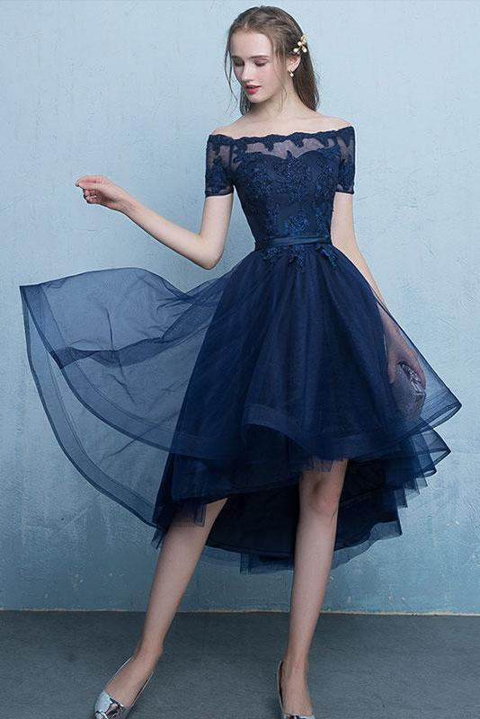 Dark Blue Lace Tulle Short Sleeve High Low Round Neck A-Line Short Prom Dresses JS408