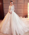 Gorgeous Scoop Lace Appliques Flowers White Organza Long Sleeve Wedding Dresses JS177