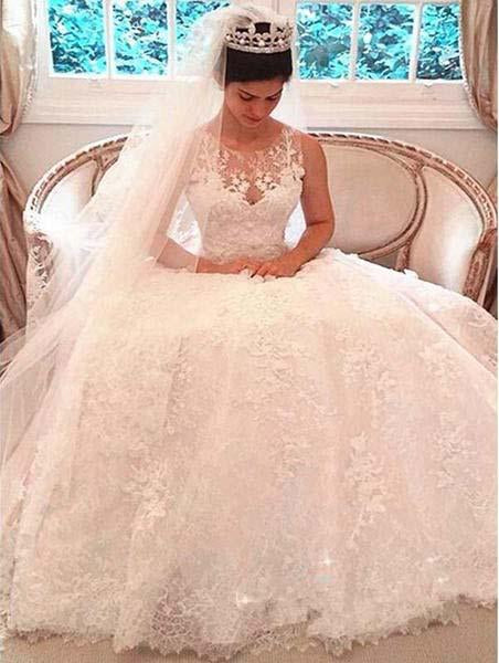 A Line Luxury Illusion Lace Scoop Wedding Gowns,Ivory Cheap Wedding Dresses uk PW296