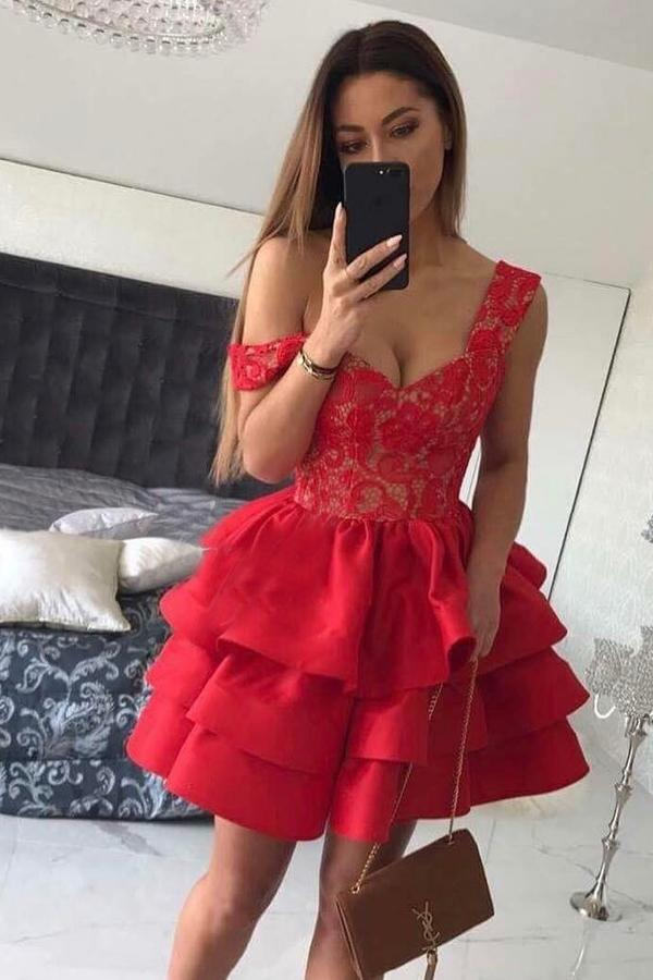 A-Line Straps Short Red Satin Sweetheart Sleeveless Cute Graduation Homecoming Dress JS230