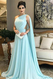 A Line Chiffon One Shoulder Ruffles Green Formal Dresses,Long Prom Dresses uk PW295