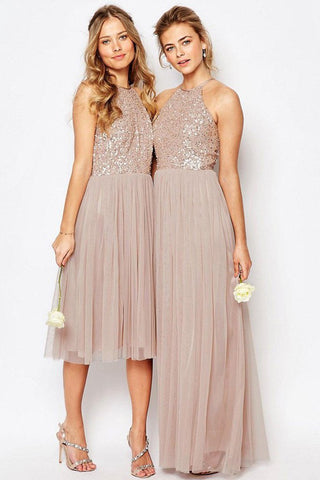 Gorgeous Glittering Top Tulle Halter Romantic Short Long Sleeveless Bridesmaid Dress JS352