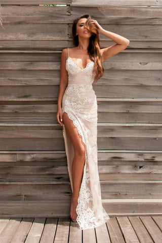 Spaghetti Straps V Neck Split Backless Lace Appliques Sexy Prom Dresses