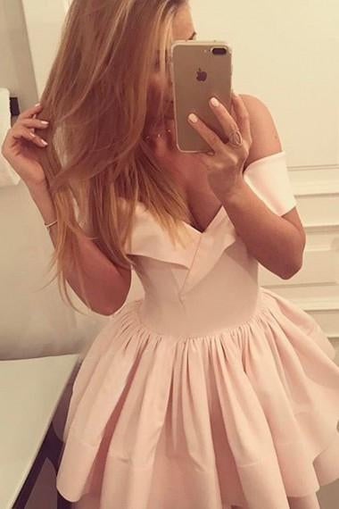 A-Line Off-the-Shoulder V-Neck Ruffles Short Pink Mini Satin Homecoming Dress JS279