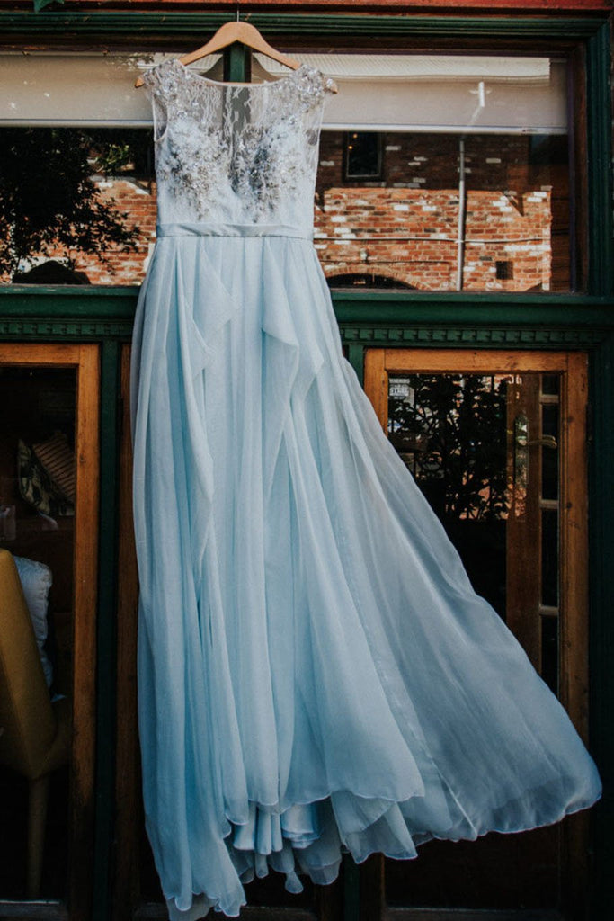 2020 Elegant Light Blue Beads Round Neck Chiffon A-Line Cap Sleeve Prom Dresses UK JS397