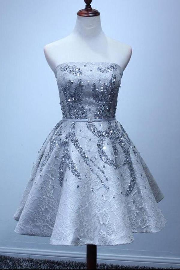 A Line Silver Strapless Mini Lace Shinny Sequin Lace up Appliques Homecoming Dresses JS828
