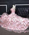 Pink A-line Sweetheart Strapless Sweep Train Floral Print Long Lace Prom Dresses with flowers JS524