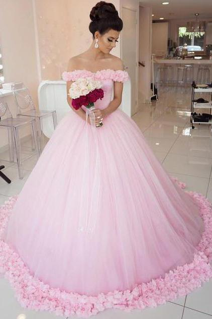 Ball Gown Off shoulder Pink Tulle Wedding Quinceanera Dresses With Flowers JS284