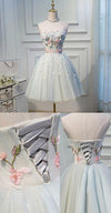 A Line Strapless Light Blue Lace up Homecoming Dress Flower Applique Short Prom Dresses JS730