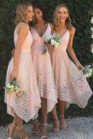 A-Line V-Neck Spaghetti Straps Asymmetrical Pink Lace Bridesmaid Dress JS93