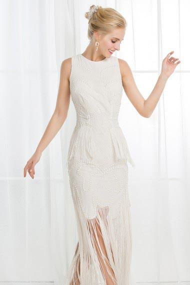 A-Line Jewel Ivory Scoop Satin Beading Tassel Sleeveless Appliques Dresses UK JS272