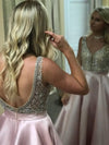 Beaded Satin Ball Gown Backless V Neck Sparkly Long Prom Dresses with Pockets JS94