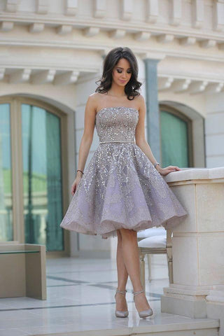Fashion A-Line Sleeveless Backless Short Homecoming Dress With Sequins JS15