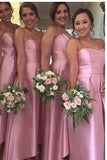 Charming A-Line Sweetheart Satin Floor-Length Pink High-Low Bridesmaid Dresses JS415