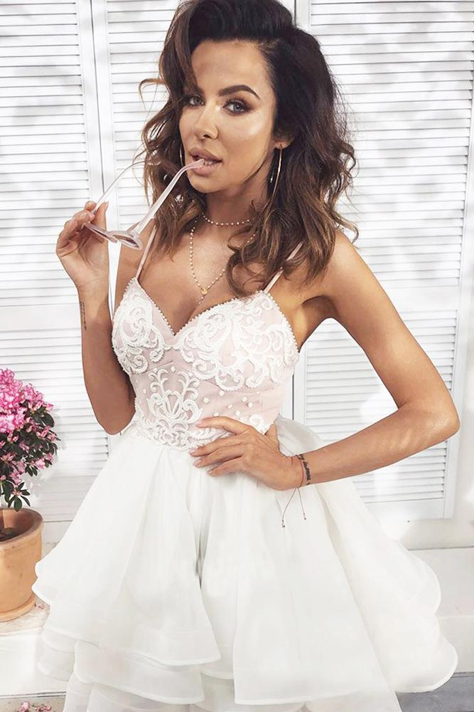 Cute A Line Sweetheart Spaghetti Straps White Lace Short Homecoming Dresses JS987
