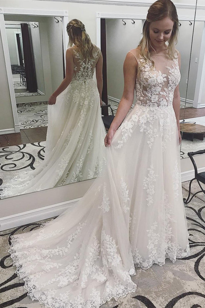A Line Ivory Lace See Through Applique Wedding Dresses Scoop with Court Train JS91