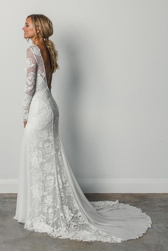 A Line Long Sleeves Ivory Rustic Lace Backless Scoop Neck Beach Wedding Dresses