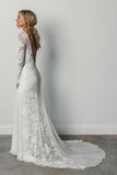 Sheath A Line Long Sleeves Ivory Rustic Lace Backless Scoop Neck Beach Wedding Dresses JS726
