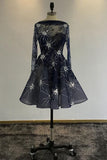 A Line Navy Blue Long Sleeve Beads Open Back Tulle Short Prom Dress Homecoming Dress JS753