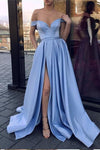 Cheap Simple A Line Blue V Neck Off the Shoulder Satin Long High Slit Prom Dresses JS59