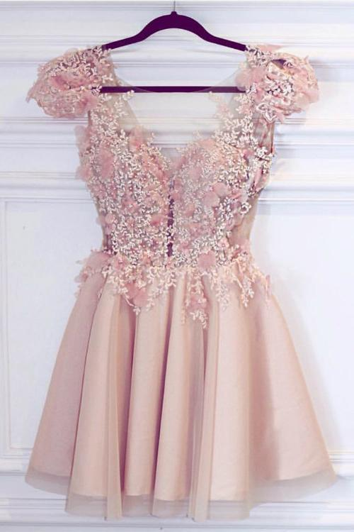 Cute Satin Pink Deep V Neck Appliques Short Prom Dresses Homecoming Dresses JS943