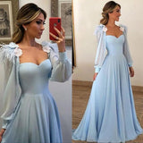 Blue Long Sleeves Sweetheart Prom Dresses A Line Long Evening Dresses JS307