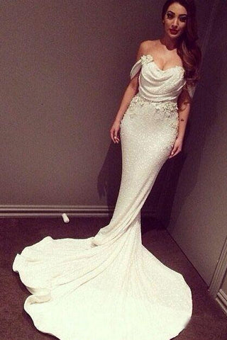 White Mermaid Off The Shoulder Long Ivory Sequins with Sparkle Formal Party Dresses For Teens JS13