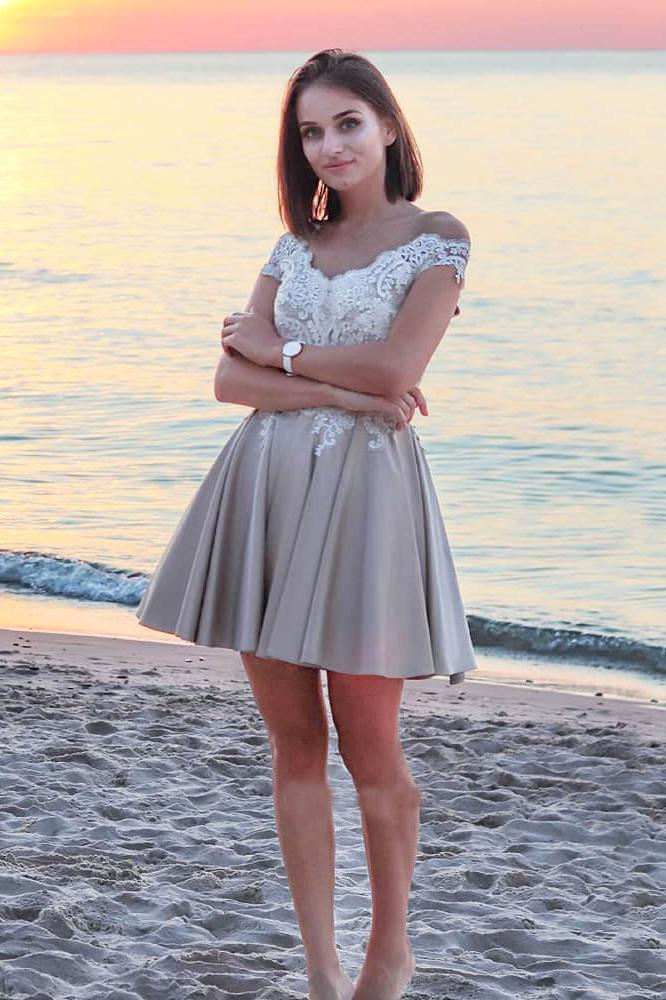 Cute A Line Off the Shoulder Grey Open Back White Lace Short Homecoming Dresses JS980