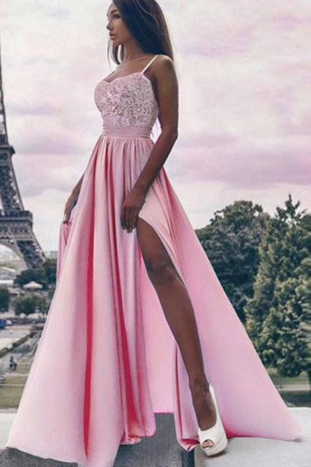 A Line Spaghetti Straps High Slit Sweetheart Chiffon Lace Appliques Prom Dresses uk PW310