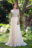 A-Line Chiffon High Neck Pink Beads Sleeveless Backless Floor-Length Prom Dresses JS885