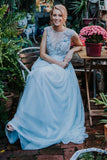 Elegant Light Blue Beads Round Neck Chiffon A-Line Cap Sleeve Prom Dresses UK JS397