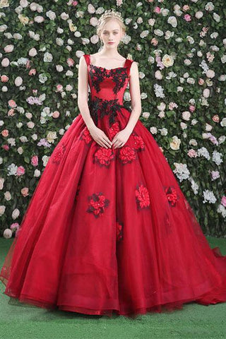 Gorgeous Ball Gowns Red Flowers Scoop Sleeveless Tulle Lace up Beads Prom Dresses JS299