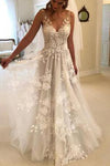 Elegant A-Line V-Neck Tulle Open Back Ivory Wedding Dresses UK with Lace Appliques JS114