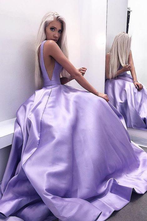 Simple A Line V Neck Satin V Back Long Prom Dresses,Sexy Evening Dresses uk PW293