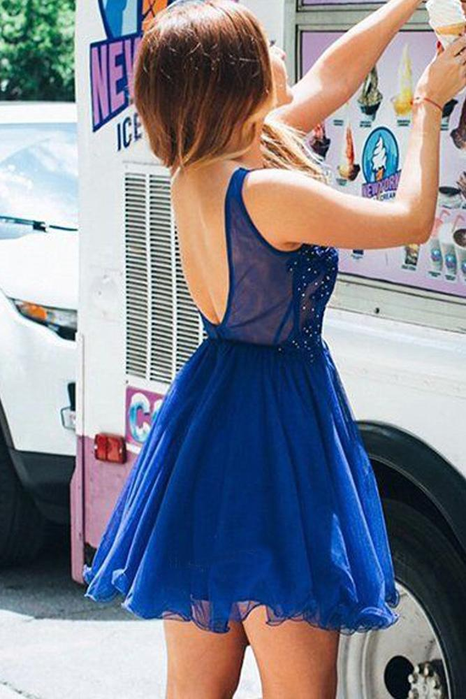 Cute A Line V Neck Chiffon Beads Royal Blue Short Homecoming Dresses with Appliques JS936