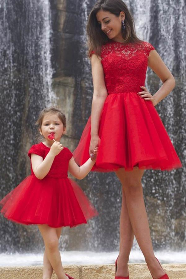 A line Red Cap Sleeves Tulle Lace High Neck Above Knee Open Back Homecoming Dresses JS903