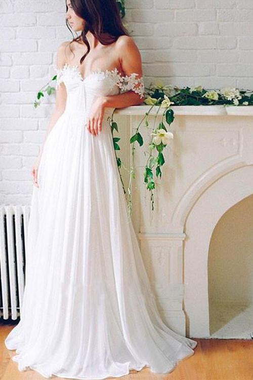 A Line Chiffon Sweetheart Lace Off the Shoulder Beach Wedding Dresses with Pleats PW276