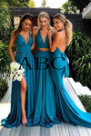Elegant A Line Mermaid Deep V Neck Long Blue Backless Bridesmaid Dresses JS958