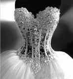 Ball Gown Lace Pearl Beads Unique Arabic Sweetheart White Tulle Princess Wedding Dress JS686