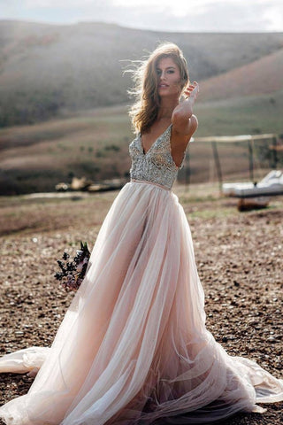 Pink Beads A Line V- Neck Sexy Tulle Long Sleeveless Beach Wedding Dresses Prom Dresses UK JS502
